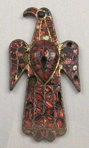 Visigoth eagle shaped fibula discovered in Alovera (Gudalaraja). Madrid, national museum of archaeology. Ca 6th century.