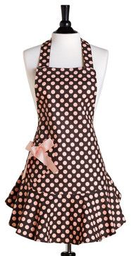 Jessie Steele Brown and Pink Polka Dot Bib Josephine Apron - eclectic - Aprons - Pure Home