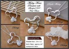Stamped 925 ~ DISNeY ~ Double MiCKEY MoUSE ~ SPaRKLY CLeAR Rhinestones ~ Open PENDANT with 18 Inch Necklace - MMPN-1 by beadazzledaccessory on Etsy https://www.etsy.com/listing/226720378/stamped-925-disney-double-mickey-mouse