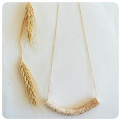 Curved Tube Necklace - White + Gold Sparkle