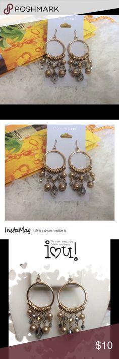 """Taupe & Smoke Crystal Bead Dangle Earrings Earrings are 3"""" long. JSB Jewelry Jewelry Earrings"""