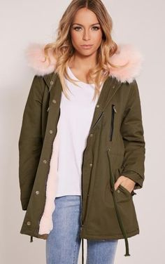 PRETTY LITTLE THING - Nia Nude Premium Faux Fur Lined Parka-14, Pink -…