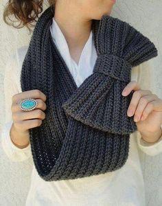 Gola Laço #trico #ModaInverno #CoatsCorrente