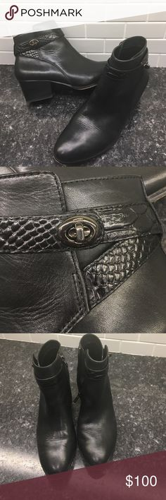 """Coach """"Patricia"""" Ankle Booties Beautiful leather ankle boots, 2 inch heel with snakeskin embossed wrap with buckle. Hardly worn! z#1128 Coach Shoes Ankle Boots & Booties"""