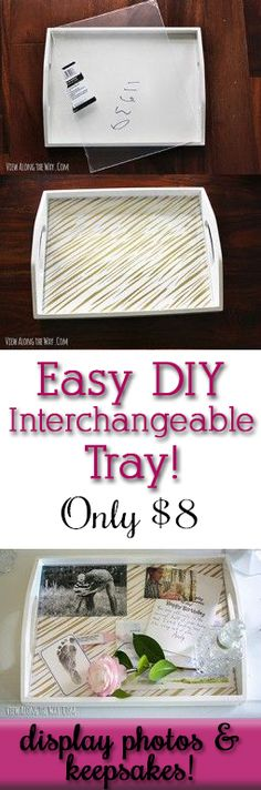 DIY Home Decor Ideas : Illustration Description Love! This would be such a great gift (think grandmas for mothers day, etc.) Display photos or keepsakes, change out the background, make this tray y… Craft Gifts, Diy Gifts, Photo Displays, Display Photos, Decoupage, Crafty Craft, Crafting, Do It Yourself Home, Cute Crafts
