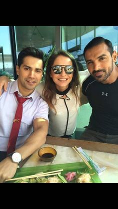 On the sets! - Varun Dhawan with John Abraham on the sets of their upcoming movie, 'Dishoom'.