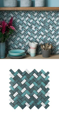 Made from glazed basalt and glass, these Tephra Viridian Herringbone Mosaic Tiles are perfect for creating a feature wall in your kitchen, bathroom, bedroom or living area! Their herringbone design allows you to create a trendy display. Bathroom Pink, Remodel Bathroom, Color Tile, Herringbone Pattern, Kitchen Tiles, Mosaic Tiles, Living Area, Kitchens, Mermaid