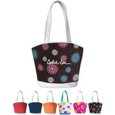 For the fashion-conscious, the sleek and silky microfiber is available in five solid colors or three perky patterns. And with a custom imprint area of 7W x 6H for your company logo or brand name, youll create a genuinely snazzy look on a promotional tote...