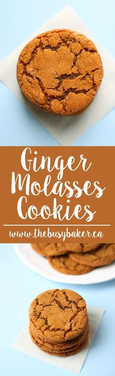 These Best Ever Ginger Molasses Cookies are better than Starbucks'! They're sweet and chewy with a delicious ginger flavour! via /busybakerblog/
