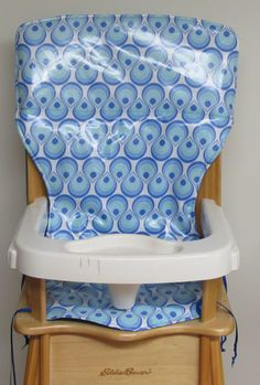 LAMINATED COTTON high chair cover, wooden chair pad, baby accessorie, Eddie Bauer replacement high chair pad, blue drops by SewingsillySister on Etsy