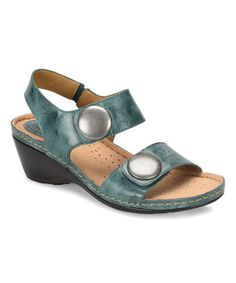 Look what I found on #zulily! Teal Pamela Leather Sandal #zulilyfinds