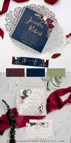 The Ivory Laser Cut Wrap opens to reveal an invitation with a geometric frame that helps put the guests focus on the wording and the floral accents add a touch of romance. This invitation is perfect year round.
