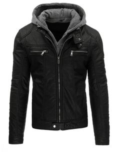 Pánská kožená bunda - Werut, černá s kapucou Stylish Mens Outfits, Nike Jacket, Hooded Sweatshirts, Motorcycle Jacket, Leather Jacket, Mens Fashion, Jackets, Clothing Ideas, Clothes