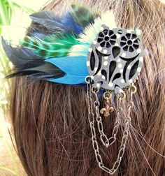 Feather Hair Clip  Blue Owl Feather Hair Clip by peacefrogdesigns, $18.00