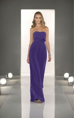 Discount Strapless Sleeveelss Long Violet Color Chiffon Country Bridesmaid Dress Discount 2016 Free Measurement