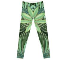 A Run Through the Jungle Leggings by Polka Dot Studio, #watercolor hand painted #green #tropical #jungle #palm leaves and #flowers on #trendy #fashion #apparel #pant #leggings for #her. Perfect for #leisurewear, #activewear, #yoga, #travel, or casual #office or #party and #social events. Coordinating #products available, #tops, #totes, #pouches, A line #dresses and more.