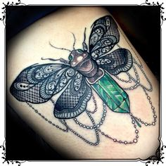 moth with lace wings tattoo by Jo Black