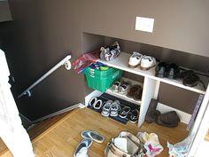 Navigating the Mothership: recessed split entry shoe storage