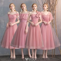 Affordable Candy Pink Bridesmaid Dresses 2019 A-Line / Princess Spotted Tulle Short Ruffle Backless Wedding Party Dresses فساتين زهري Pink Bridesmaid Dresses Short, Bridesmade Dresses, Tulle Bridesmaid Dress, Bridesmaid Outfit, Wedding Bridesmaid Dresses, Wedding Party Dresses, Lace Bridesmaids, Tulle Wedding, Short Dresses