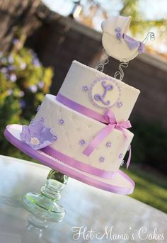 Pretty Lilac Baby Shower Cake or remove the carriage cake topper and its a pretty cake for any occasion. Order Birthday Cake, Birthday Cakes Delivered, Special Birthday Cakes, Lilac Baby Shower, Lavender Baby Showers, White Baby Showers, Birthday Cake With Flowers, Birthday Cake With Candles, Beautiful Cake Pictures