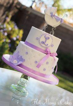 Pretty Lilac Baby Shower Cake