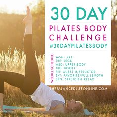 March Mini Goal: Complete 30 Days of Pilates. The 30 Day Pilates Body Challenge is hosted by Robin of The Balanced Life. It's just 10 minutes per day! Pilates Workout Routine, Pilates Training, Pilates Challenge, 30 Minute Workout, 30 Day Challenge, Workout Challenge, Leg Routine, Thigh Challenge, Plank Challenge