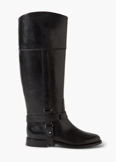 Leather high-leg boots - Shoes for Women | MANGO