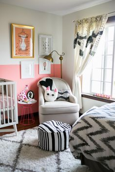 Black, white & pink nursery