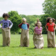 Potatoe sack race for field day party Family Reunion Activities, Family Games, Activities For Kids, Family Reunions, Outdoor Activities, Group Games, Fun Group, Team Games, Group Activities