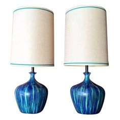 Image of Mid-Century Ceramic Drip Glaze Lamps - Set of 2