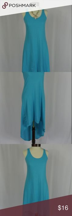 Turquoise High Low Tank Top Dress This turquoise blue high low tank dress is perfect year round! Goes well with booots, denim jacket, and leggings in cooler months, or solo with sandals in summer months!  MEASUREMENTS IN INCHES 35 LONG FRONT 50 LONG BACK 34 TO 38 BUST (stretchy) 28 to 32 WAIST 38 TO 42 HIPS  VERY GOOD CONDITION (very minor pilling as shown in pictures) Worn once, gentle washed, hung dry.  by Body Centreal Size M poly/spandex blend Body Central Dresses High Low