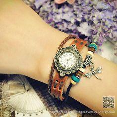 Women Watches Bracelet Leather Wrist Watch par VintageLovers2012