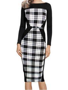 Stylish Round Neck Long Sleeve Plaid Midi Dress For Women