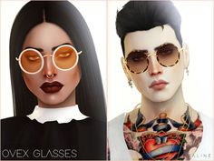 Here are some glasses, inspired by a beautiful pair that Jin from BTS wears. They come in 20 swatches, in clear and sun lens versions. Found in TSR Category 'Sims 4 Female Glasses'