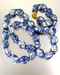 Vintage Hand Knotted Chinese Necklace with Blue by worn2perfection, $125.00