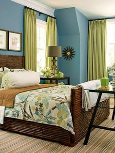 bedroom color ideas. This but inverted. Green walks with blue curtains and accents. Keep the dark brown