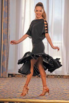Dance America D302 - Short Sack Top Dress w/ Silhouette Skirt :: Ballroom Dancing Shoe :: Ladies Apparel :: Dresses