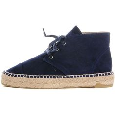 CHANEL Suede Lace Up Espadrilles 35 Dark Navy Blue ❤ liked on Polyvore featuring shoes, chanel espadrilles, navy blue espadrilles, navy suede shoes, suede flat shoes and suede shoes