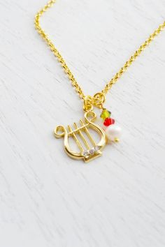 Alpha Chi Omega,Gold Lyre Necklace,Olive and Red,Sorority Symbol Necklace,Sorority Jewelry,Music Instrument Necklace,Hard Charm Necklace on Wanelo