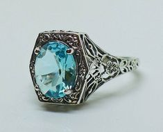 Amazing Aquamarine Solitaire Ring in Sterling Silver Size 7 / Filigree Antique Victorian Edwardian Art Nouveau Art Deco Engagement Bohemian