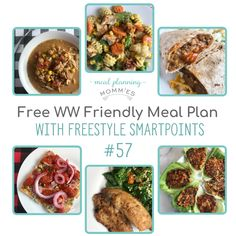 WW FreeStyle Friendly Meal Plan #57 on Meal Planning Mommies! Recipes that are between 3-6 WW SmartPoints per serving include:  Chicken Pasta Primavera, Slow Cooker Pantry Chicken Soup, Copycat Taco Bell Bean Burritos, Teriyaki Salmon Lettuce Wraps, Pan-Fried Tilapia w/ Couscous Salad, and Italian Sub Pizza Ww Recipes, Lunch Recipes, Vegetarian Recipes, Healthy Recipes, Healthy Meals, Recipies, Pan Fried Tilapia, Bean Burritos, Recipe Builder
