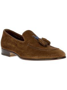 Brown suede tassel loafer from SANTONI