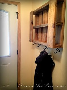 DIY Coat Rack Can be used as a shelf to. Very sturdy. Maybe painted? Stained a darker color to match Riley's bed?