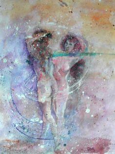 Femmes nues qui dansent, aquarelle sur papier