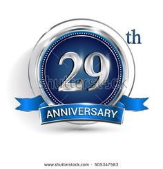 Celebrating 29th anniversary logo, with silver ring and blue ribbon isolated on white background.
