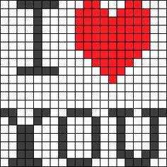I Love You perler bead pattern
