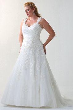 Elegant A-line Straps Court Train Tulle Fabric Plus Size Wedding Dresses With Appliques Style mp115091703