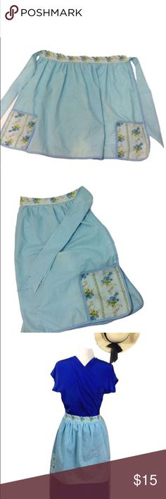 """Vintage Light Blue Floral Half Apron With Pockets Very lovely light blue vintage Half apron with floral print pockets and waist. Length of waist from end of tie to other end: 52"""".  Beautiful!   C10 Vintage Accessories"""