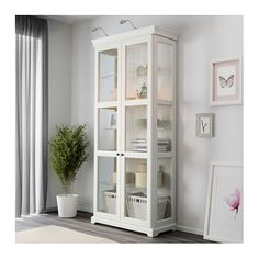 Awesome Tall Storage Cabinet with Glass Doors