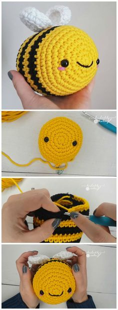 Good No Cost Cute crochet animals Concepts Amigurumi Bumblebee Free Crochet Pattern Crochet Kawaii, Cute Crochet, Crochet Crafts, Yarn Crafts, Knit Crochet, Crochet Things, Chrochet, Crochet Baby, Diy Crafts